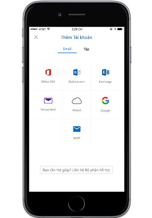 Một điện thoại thông minh hiển thị Thêm một màn hình Tài khoản trong Outlook mobile