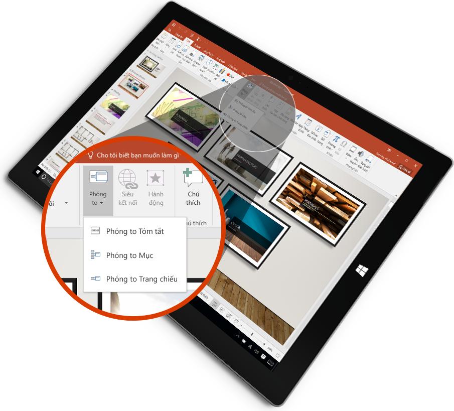 Máy tính bảng hiển thị một trang chiếu PowerPoint ở chế độ Bản trình bày.