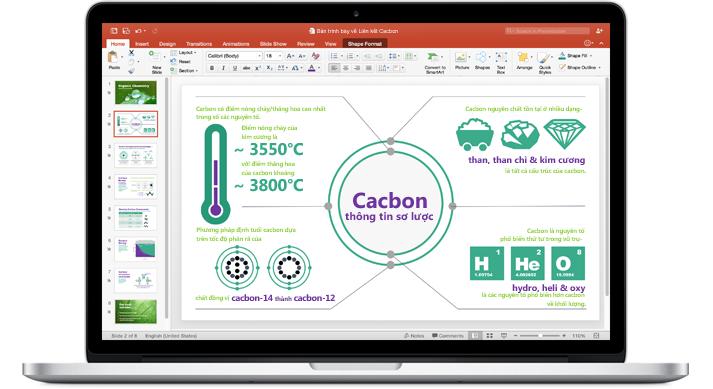Một chiếc MacBook hiển thị bản trình bày PowerPoint for Mac.