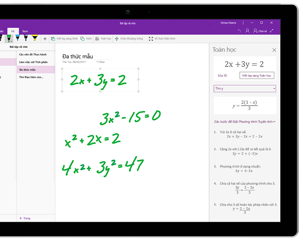Một số phương trình viết tay trong OneNote trên máy tính bảng Surface