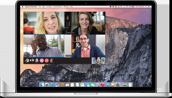 Một máy Mác hiển thị cuộc gọi Skype for Business đang được diễn ra