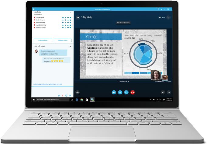 Một máy tính xách tay hiển thị cuộc họp Skype for Business đang được diễn ra kèm theo một bản trình bày và danh sách người dự
