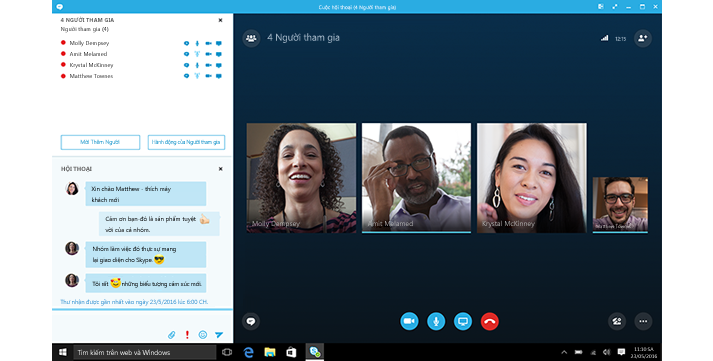 Ảnh chụp màn hình chụp lại màn hình chính Skype for Business với hình thu nhỏ của các liên hệ và các tùy chọn kết nối.