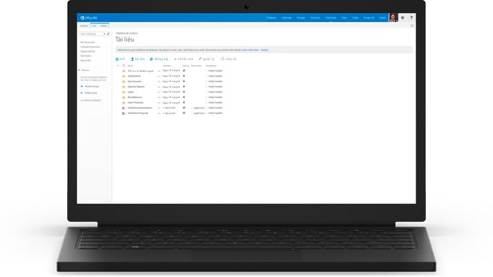 Máy tính xách tay hiển thị danh sách tài liệu trong OneDrive for Business.