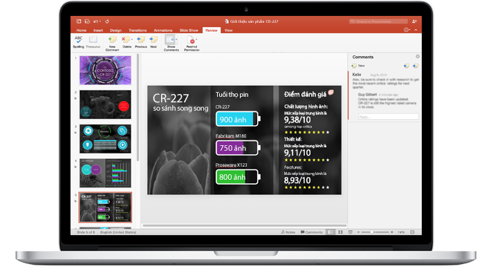 Máy tính xách tay hiển thị các trang chiếu của bản trình bày PowerPoint mà một nhóm đang cộng tác trên đó.