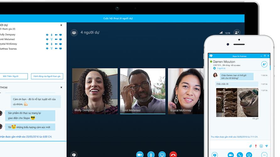 Máy tính bảng Surface hiển thị cuộc họp trực tuyến Skype for Business trên màn hình