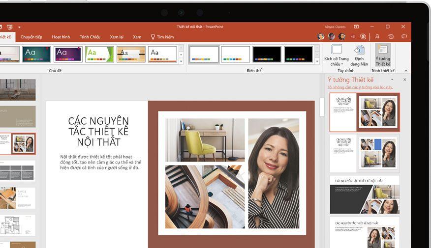 Bản trình bày PowerPoint hiển thị trên thiết bị