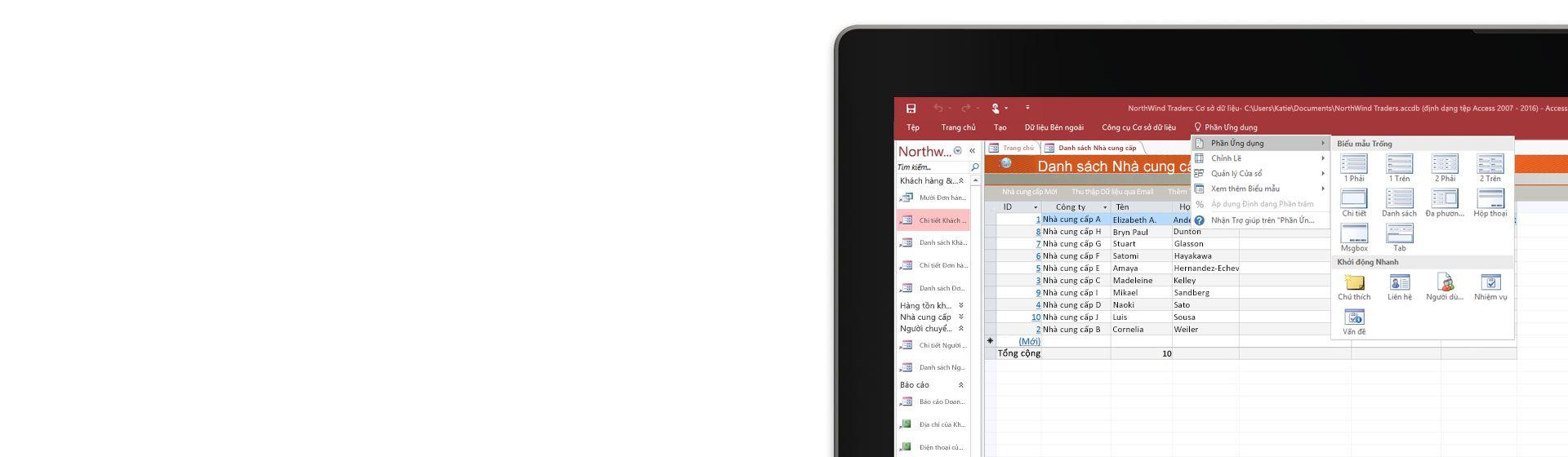 Góc màn hình máy tính đang hiển thị một danh sách nhà cung cấp ở cơ sở dữ liệu trong Microsoft Access.
