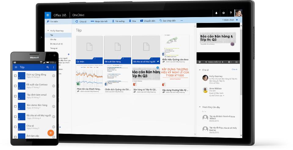 Một máy tính bảng và một điện thoại thông minh hiển thị cận cảnh các tệp và thư mục, hoạt động trên nền tảng OneDrive for Business.