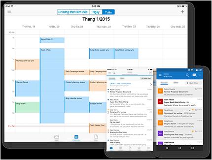 Với Outlook trên tất cả các thiết bị yêu thích của bạn