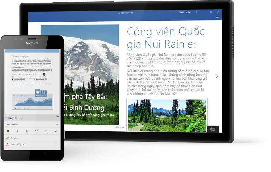 Máy tính bảng chạy Windows hiển thị tài liệu Word về Công viên Quốc gia Núi Rainier trong Word và điện thoại hiển thị tài liệu trong ứng dụng Word dành cho thiết bị di động