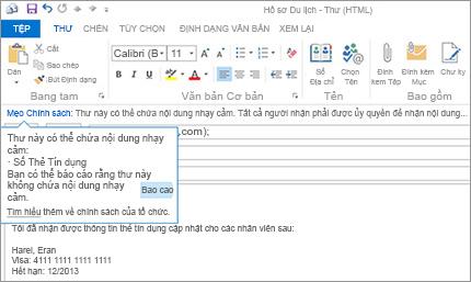 Cận cảnh Mẹo Chính sách trong một email giúp ngăn người dùng gửi thông tin nhạy cảm.