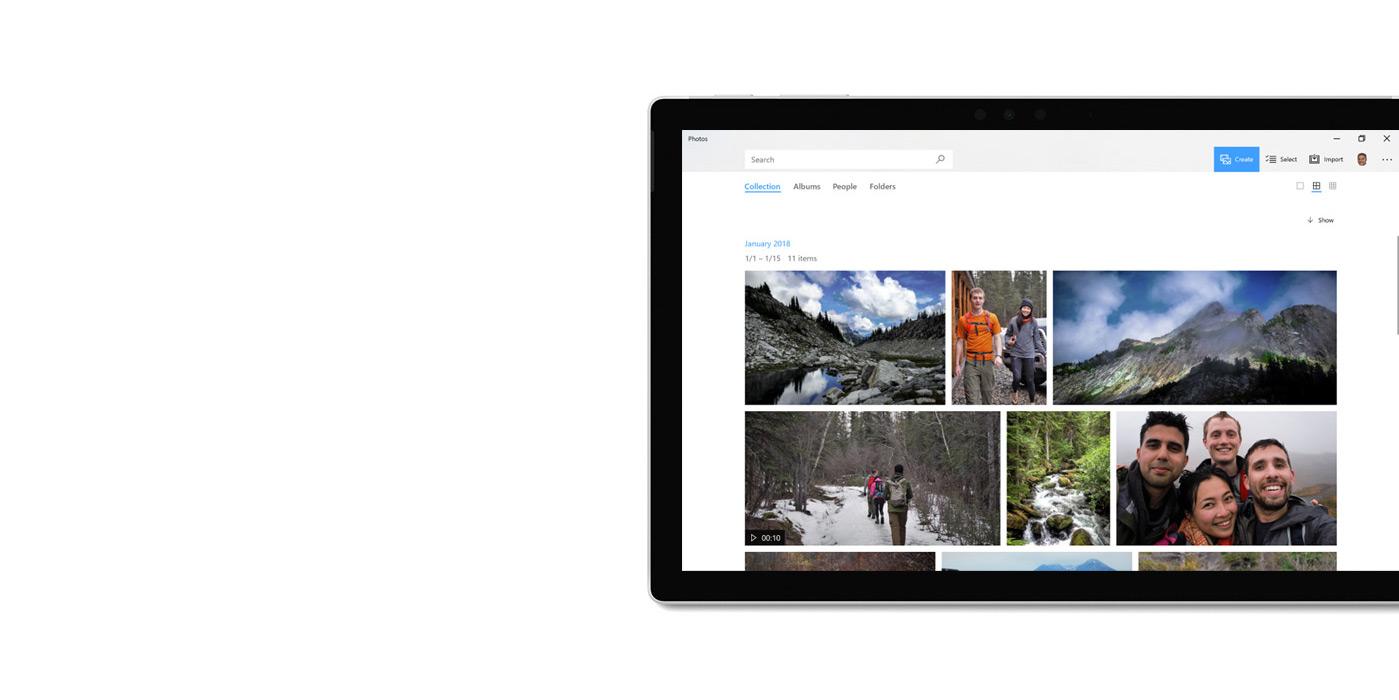 """平板电脑上显示着""""照片""""应用。"""