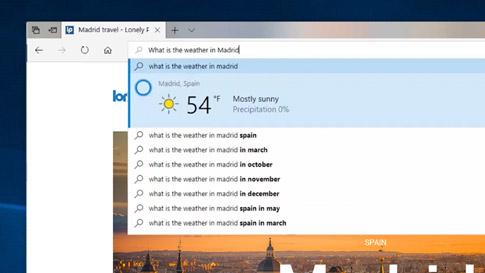 Cortana 从 Microsoft Edge 浏览器内提示马德里天气情况的屏幕图像