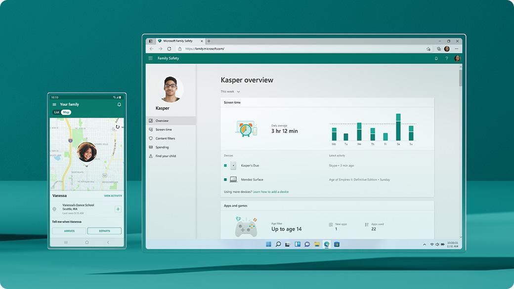 Microsoft Family Safety 应用程序和屏幕
