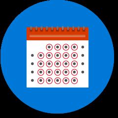 日历中每天都用圆圈标记