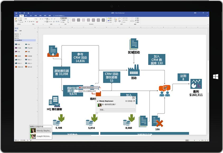 一台 Surface 平板电脑,显示协作创建 Visio 图表的情景,屏幕上显示有其他用户的批注