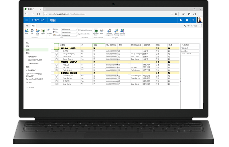 一台笔记本电脑,显示基于 SharePoint 的 Project Server 功能