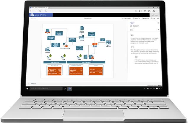 笔记本电脑上显示的 Visio Online 销售流程图