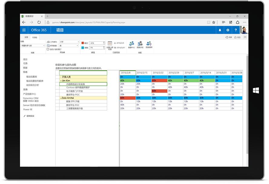 平板电脑屏幕,显示 Office 365 中的 Microsoft Project 容量和预订热度地图。
