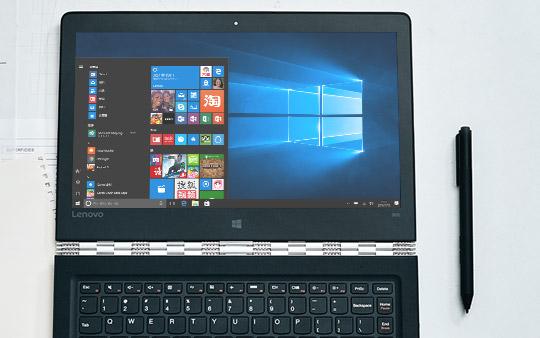 "呈现 Windows 10""开始""菜单的 Lenovo Yoga 900"