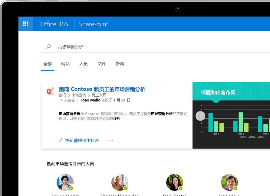 SharePoint 中的智能搜索和发现在 Surface Pro 上显示 Office 365 中的个性化结果