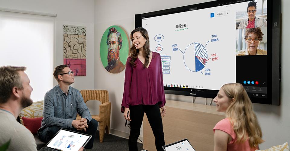 Microsoft Whiteboard 中的椅子图,显示脚轮和椅子尺寸
