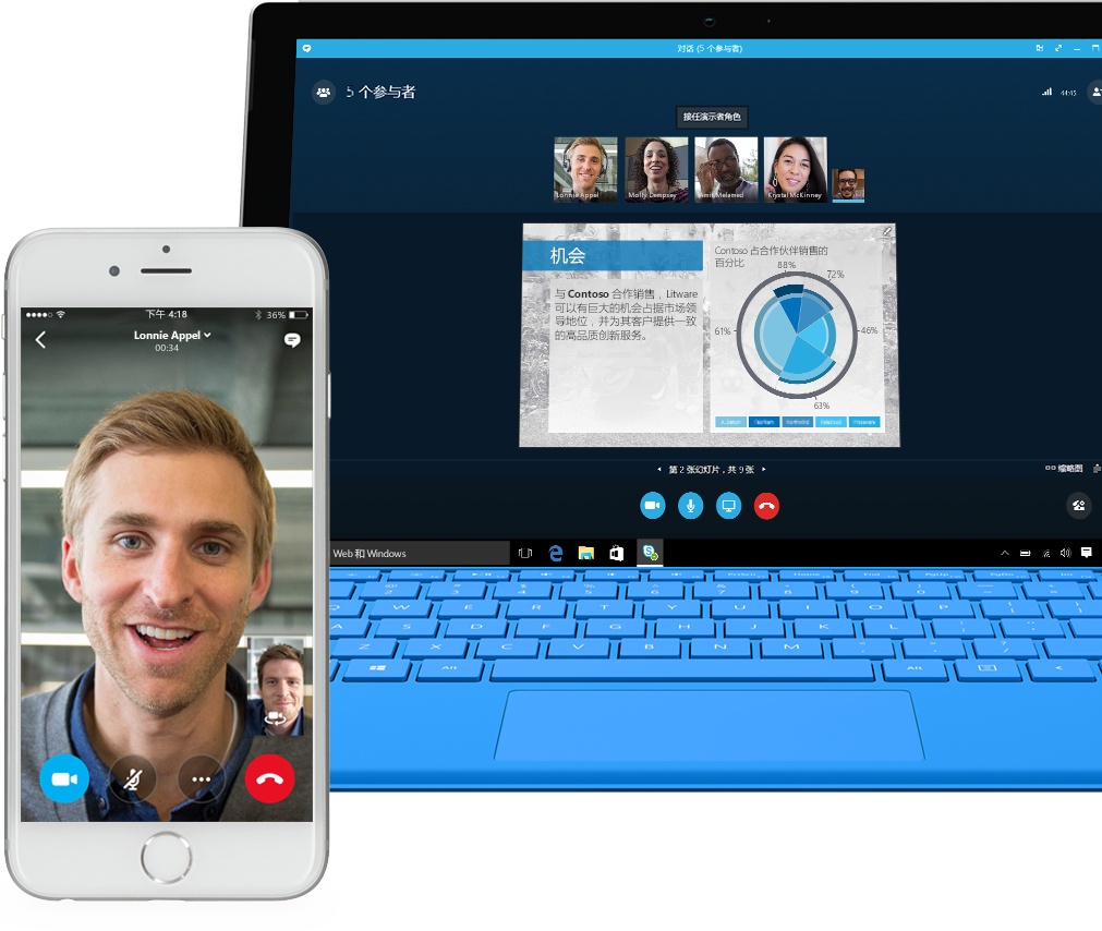 显示 Skype for Business 通话屏幕的手机和显示与共享 PowerPoint 演示文稿的团队成员进行 Skype for Business 通话的笔记本电脑