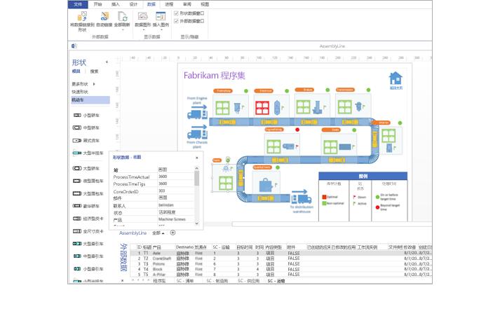带有数据电子表格和形状数据的数据链接的 Visio 图表特写。
