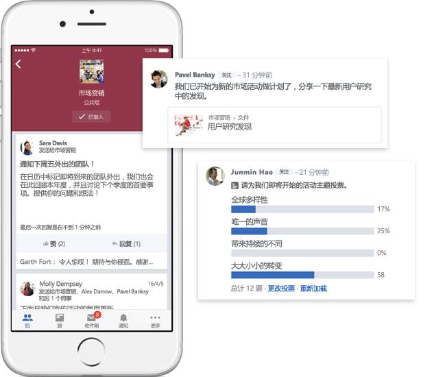 一部移动电话,显示了 Yammer 组中的对话、投票和文件共享
