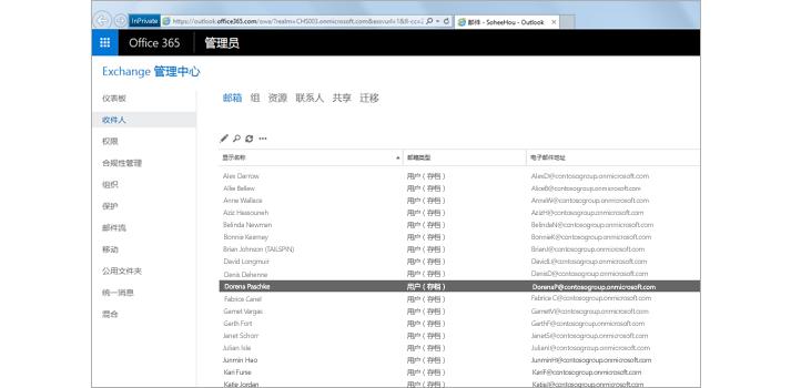 Exchange 管理中心内用于管理电子邮件系统的页面。