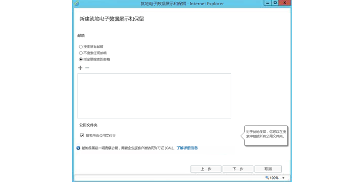 显示就地电子数据展示和保留功能的 Internet Explorer 窗口