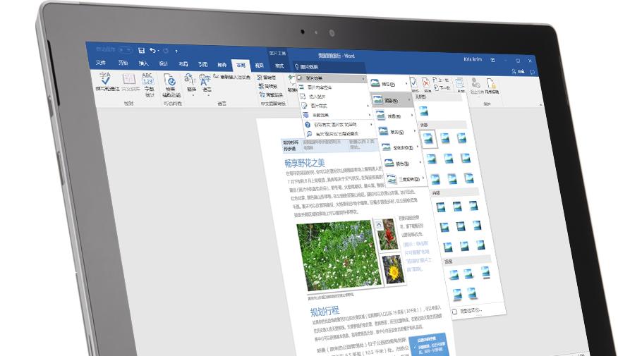 """一台 Surface 平板电脑,显示了 Word 文档中的""""操作说明搜索""""功能"""