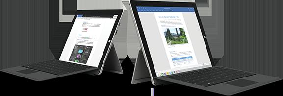 访问 Office 2007 停用页面的两台 Surface 设备