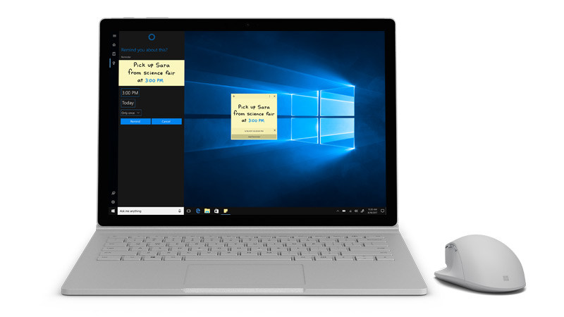 Surface 显示 Cortana 屏幕截图。