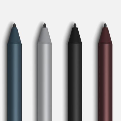 灰钴蓝、亮铂金、黑色和深酒红的 Surface 触控笔