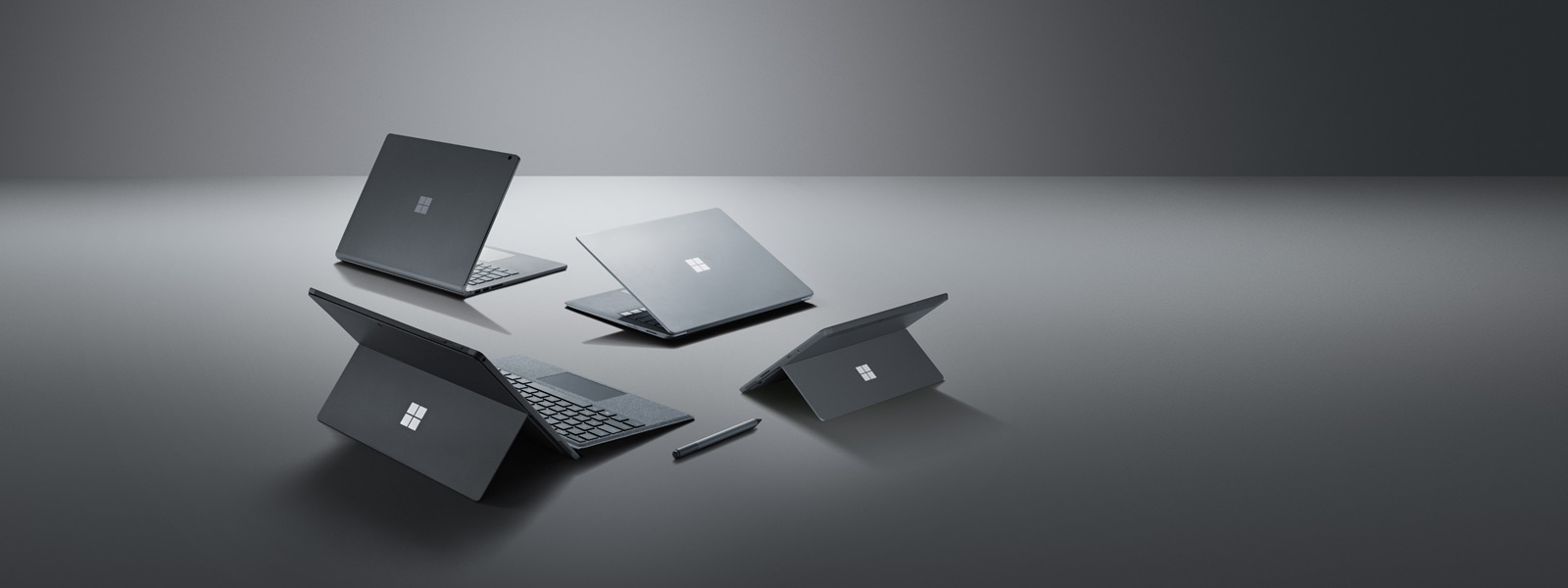 Surface Go、Surface Book 2、Surface Pro 6(亮铂金)和 Surface Laptop 2(亮铂金)、Surface Pen