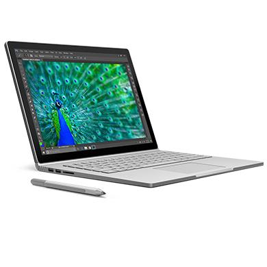 正面朝右的 Surface Book