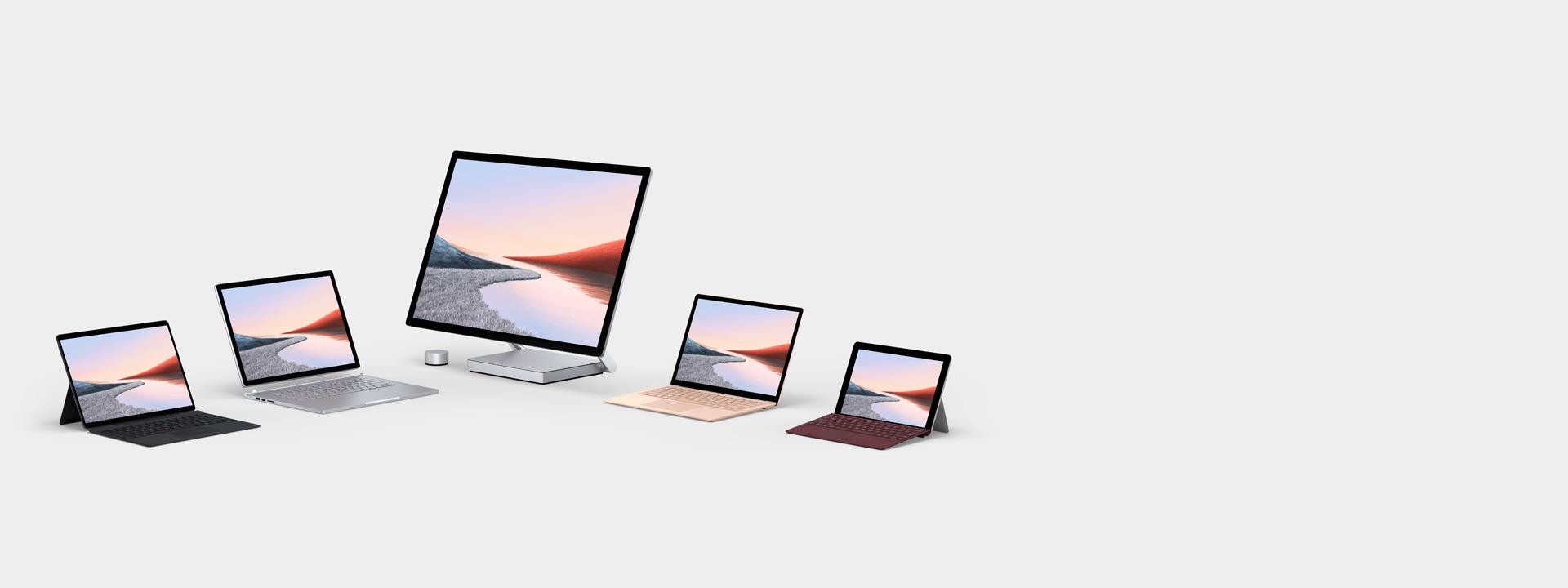 显示多台 Surface 电脑