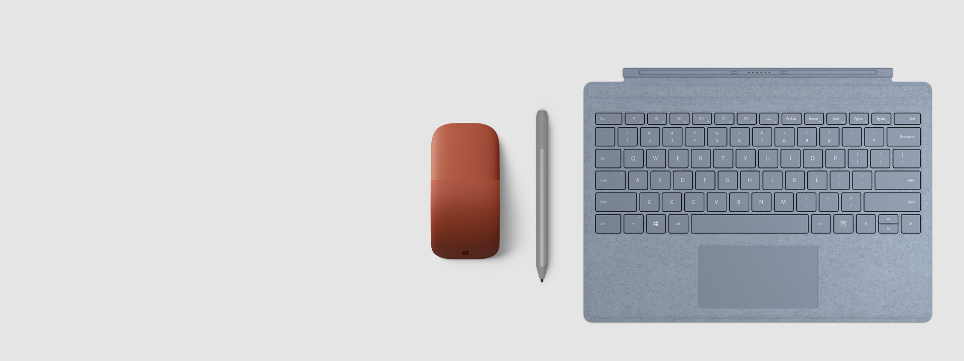 Surface 触控笔、Surface 特制版专业键盘盖和 Surface Arc 鼠标