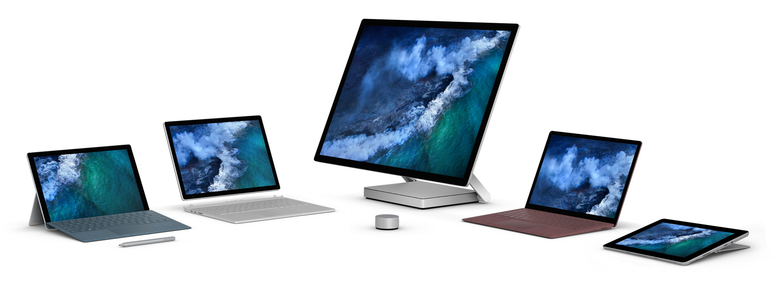 Surface 设备家族包括 Surface Pro、Surface Book 2、Surface Studio、Surface Laptop 和 Surface Go