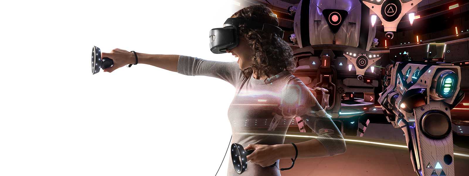 女人使用 Windows Mixed Reality 硬件玩《Space Pirate Trainer》游戏