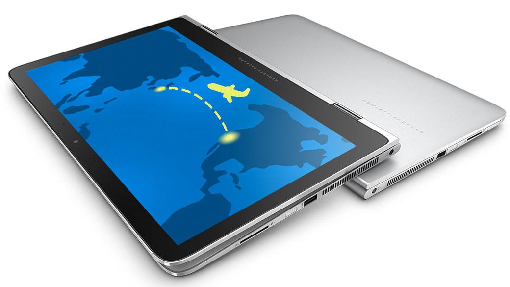 屏幕上显示一架飞机且处于平板电脑模式的 HP Spectre x360