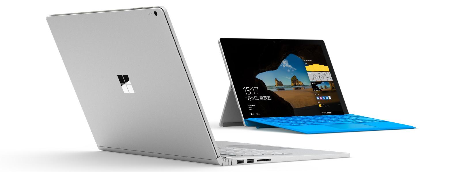 """呈现 Windows""""开始""""屏幕的 Surface Book 和 Surface Pro 4"""