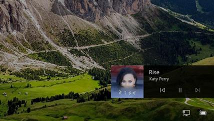 锁屏界面中的 Microsoft Windows 10 音乐控件