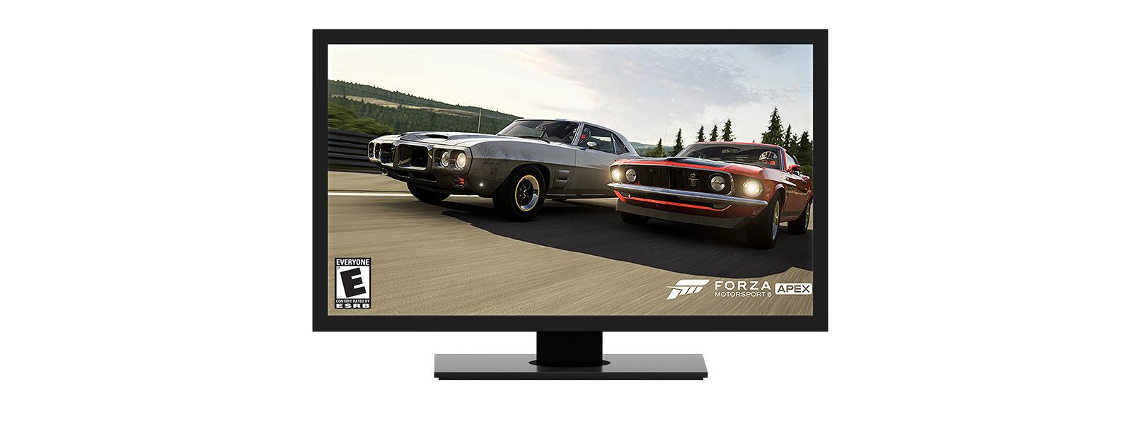 Windows 桌面上的《极限竞速》(Forza) 游戏