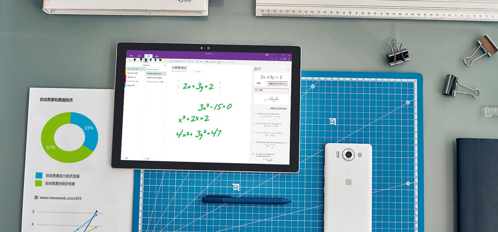 平板电脑屏幕,显示使用墨迹转换数学助手的 OneNote