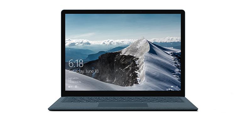 钴蓝色 Surface Laptop 电脑的正视图