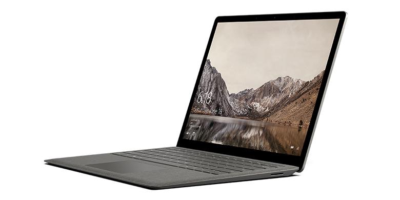 钴蓝色 Surface Laptop 电脑左面