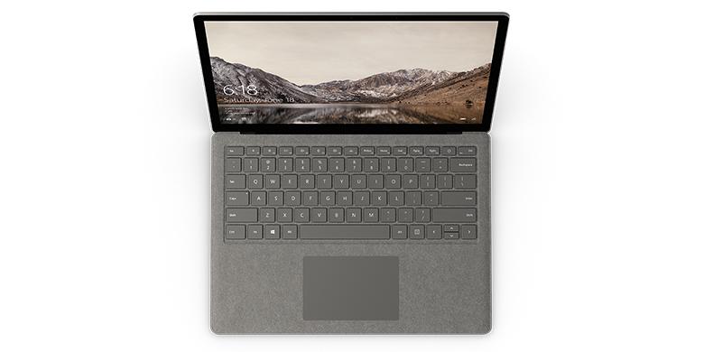 石墨金色 Surface Laptop 电脑的俯视图